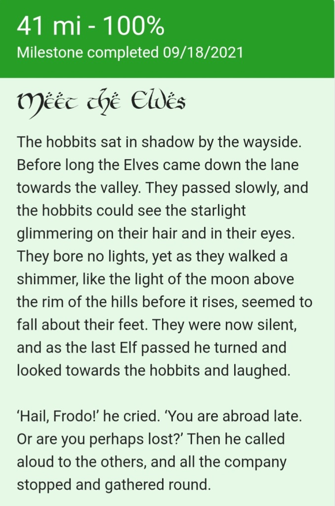 A screenshot of the Walk to Morder app, featuring an excerpt from the moment when a group of elves passes Frodo, 41 miles into the journey.